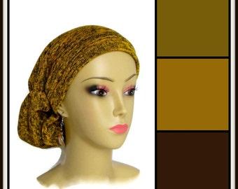 Goldenrod Heather Sweater Knit Hair Snood Turban, Volumizer Chemo Headwear,   Tichel ExL