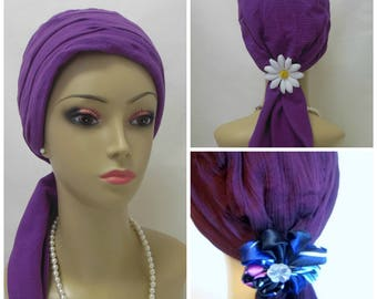 Purple Scarf Turbans Gauze, Volumizer Chemo Headwear, Cancer Patient Hat, Tichel, Alopecia