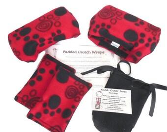 Puppy Paw Print Red Fleece Crutch Pads, Kids Crutch Cover. Crutch Phone Bag,Cast Sock