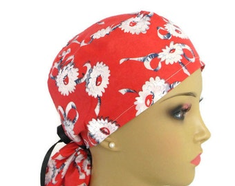Coral Ponytail Scrub Cap Chemo Headwear, Cancer Patient Hat, OR Cap, Nurse Gift, Vet Cap