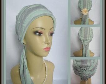 Jersey Scarf Turban Muted Green Silver Striped Chemo Headwear, Volumizer Tichel Mitpachat,