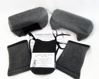 Dark Gray Fleece Crutch Pads Crutch Tote Bag,Cast Sock Toe Warmer Bootie,