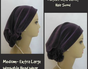 Muted Purple Stretch Velour Hair Snood Cancer Patient Hat, Hair Covering  Tichel,Med-Ex Lg