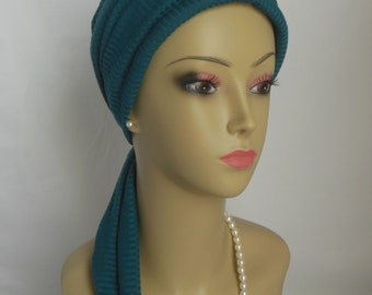 Jersey Scarf Turban Steel Blue Teal Volumizer Chemo Headwear, Cancer Patient Hat, Alopecia Hat