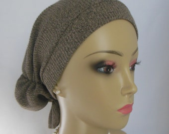 Hair Snood Sweater Turban, Volumizer Chemo Headwear, Cancer Patient Hat,Tichel Hair Cover