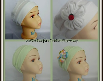 Toddler Pillbox Waffle Texture White Lime Cap, Chemo Headwear, Child Cancer Cap, Alopeciar