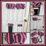 """Fleece Crutch Pads, Pink & Black Zebra Stripe Crutch Covers  2"""" Bounce Back Foam, Crutch Tote, Toe Bootie Cast Sock, Washable Crutch Pads"""