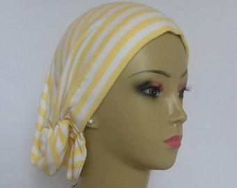 Hair Snood White & Yellow Stripe Turban, Teen Adult Volumizer Chemo Headwear,| Tichel Mitpachat Head Wrap,Alopecia Scarf, Beach Head Wear