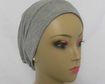 3-Seam Silver Gray Rayon Turban,  Adult Chemo Headwear, Cancer Patient Hair Cove 20-23""