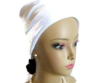 White Gauze Scarf Turbans Chemo Volumizer Headwear,  Cancer Patient Hat Hair Cover, Tichel