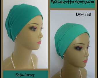 3-Seam Teal Jersey Turban Lightweight Chemo Headwear,  Cancer Patient Hair Cover