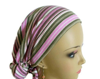 Hair Snood Turban Chemo Headwear, Pink Jersey Knit Cancer Patient Hat. Hair Cover