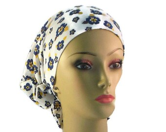Hair Snood Turban, Deep Blue Pansies On White Jeresy: Comfortable Chemo Headwear