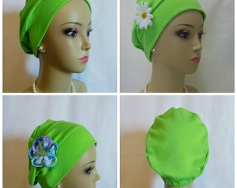 3 Seam Turban Lime Green Cotton Jersey Interlocking Knit Chemo  Headwear for Women