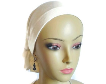 Hair Snood White Ivory Ribbed  Volumizer Chemo Headwear, Cancer Patient Hat, Hair Covering, Tichel