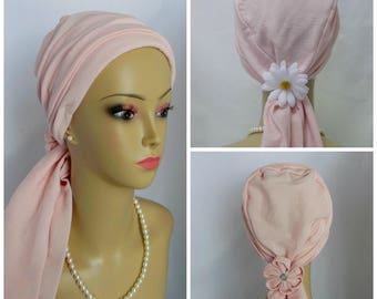 Pearl Pink Gauze Knit Scarf Turbans Chemo Volumizer Headwear, Cancer Patient Hat, Tichel