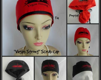 Vegas Strong Scrub Caps:  Ponytail RN Surgical Hat, Chemo Headwear ,Nurse Graduation Gift, Alopecia Cap,Pediatrics OR Cap, Cancer Head wear