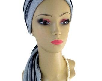 Gray Navy Stripe Jersey Scarf Turban Chemo Headwear, Cancer Patient Hat, Tichel Mitpachat