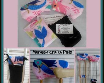 Mermaid Fleece Padded Crutch Wrap Set, Girl Padded Crutch Cover,Phone Tote Bag, Toe Warmer