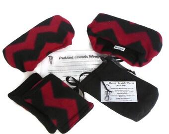 Red Chevron Fleece Crutch Pads, Crutch Phone Tote, Toe Bootie Volleyball Cast Sock