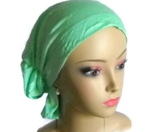 Hair Snood Mint Green Turban,  Chemo Headwear, Cancer Patient Hat, Hair Covering, Tichel