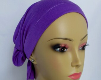 Hair Snood Lavender Purple Jersey Turban Teen Adult Volumizer Chemo Headwear