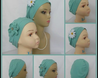 3-Seam Aqua Green Jersey Turban Lightweight Chemo Headwear, Child Adult Cancer Patient Hair Cover, Tichel Mitpachat Cap, Alopecia Beach Cap