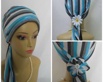 Jersey Scarf Turban Blue White Gray Chemo Headwear, Alopecia Head Cover, Tichel Head Wrap