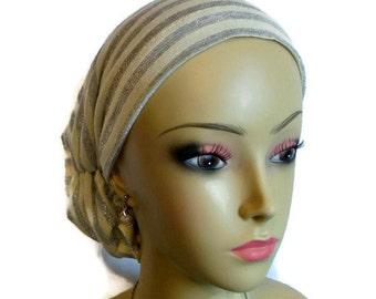 Hair Snood Metallic Gray Ivory Striped Turban | Volumizer Chemo Headwear | Cancer Patient Hat | Hair Covering | Tichel Mitpachat Head Wrap