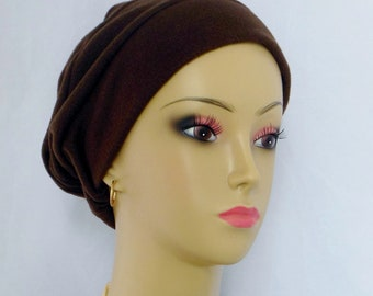 3-seam Brown Fleece Turban Chemo Headwear, Cancer Patient Hair Cover Med- Large