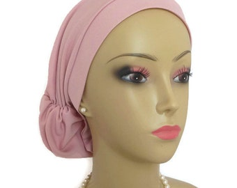Hair Snood Pink Satin Volumizer Chemo Headwear, Cancer Patient Hat ,Alopecia Hair Covering
