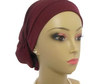 Hair Snood Maroon Satin Jersey Turban Chemo Headwear, Cancer Patient Hat, Alopecia Scarf