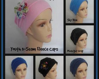 Girl 3-Seam Fleece Turban Cap, Girl Chemo Headwear, , Youth Alopecia Winter Hat