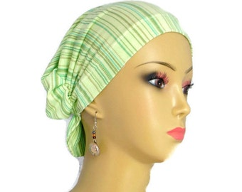 Hair Snood Mint Taupe Teal & Green Stripes Turban, Volumizer Chemo Headwear, Cancer Patient Hat, Tichel Hair Cover, Beach Head Wrap Sm-Med