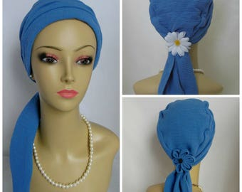 Gauze Scarf Turban Blue Volumizer Chemo Headwear, Cancer Patient Hat, Alopecia Hair Cover