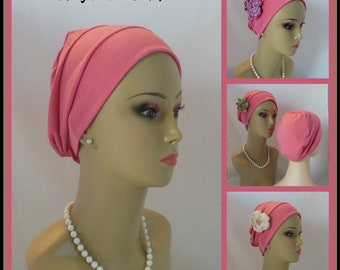 Candy Pink Jersey Chemo Headwear, Cancer Patient Hair Cover, Tichel Mitpachat Cap, Alopecia Head Wear