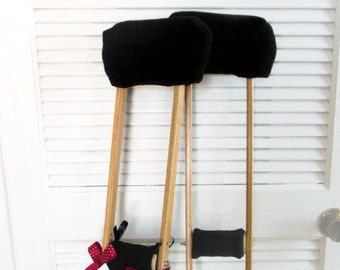 Black Fleece Padding Crutch Pads, Crutch Cover Phone Tote Bag, Toe Warmer Bootie, Cast Sock