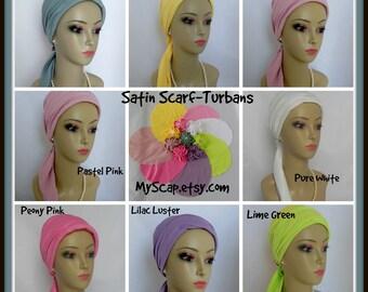 Pastel Satin Jersey Scarf Turbans , Volumizer Chemo Headwear, Cancer Patient Hat, Tichel