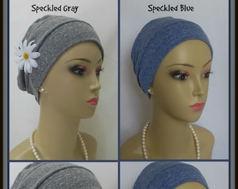 3-Seam Speckled Gray Blue Rayon Jersey Knit Turban Chemo Headwear, Cancer Patient Hair Covering, Tichel Mitpachat Cap. Alopecia Head Wear