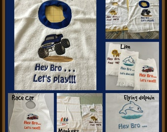 """Personalized Embroidered """"Hey Bro"""" Child Bib,  Boy Toddler Pullover Bib,  Male Special Need Terry Cloth Bibs, Adult Ribbed Knit Collar Bib,"""