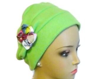 Teal Fleece Turban Cap, Winter Chemo Headwear, Tichel  Mitpachat Wrap, Cancer Patient Hat