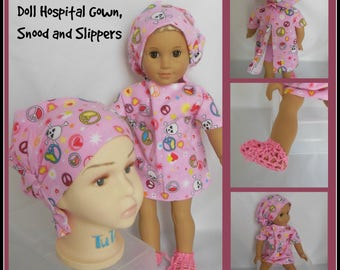 "Peace Sign Hair Snood Child, 18"" Doll Hospital Gown, Slippers Volumizer Chemo Headwear,"
