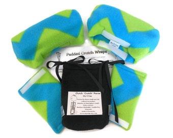 Chevron Fleece Neon Blue Crutch Pads, Crutch  Phone Tote Bag, Warmer Cast Sock Toe Bootie