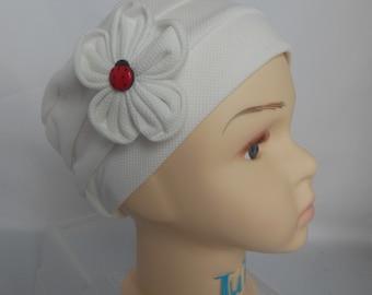 Toddler Pillbox Waffle Texture White Knit Cap, Chemo Headwear,  Child Cancer Cap, Alopecia
