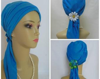 Jersey Scarf Turban: Celestial Blue Volumizer Chemo Headwear, Cancer Patient Hat, Alopecia  Hair Covering, Tichel & Mitpachat Cap, Beach Cap