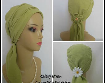 Gauze Scarf Turban Celery Green Volumizer Chemo Headwear Cancer Patient Hat  Hair Cover
