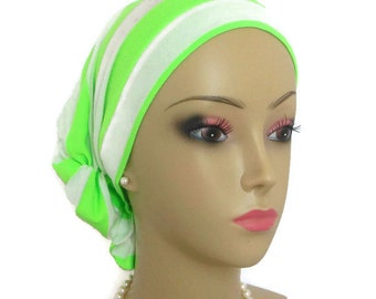 Hair Snood Lime Green White Stripe Turban, Volumizer Chemo Headwear,Patient Chemo Hat,Tichel Mitpachat Hair Cover, Beach Headwear Med- Large
