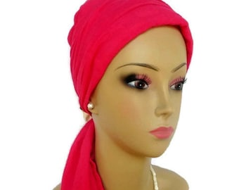 Hot Pink Gauze Scarf Turban  Volumizer Chemo Headwear, Cancer Patient Hat,Tichel Mitpachat