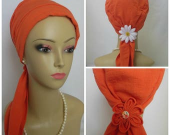 Orange Gauze Scarf Turban Volumizer Chemo Headwear, Cancer Patient Hat, Beach Cover,Tichel