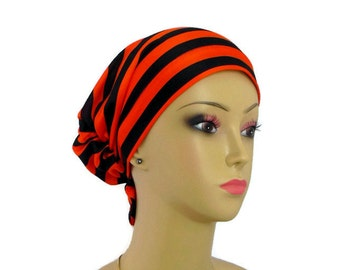Hair Snood Black Orange Stripe Jersey Turban Volumizer Chemo Headwear, Alopecia Cap Sm Med